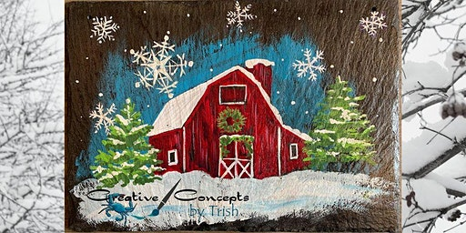 Winter Barn Scene Slate or Canvas Paint Night