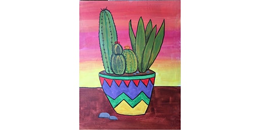 Sunset Cactus Paint & Sip Night - Art Painting, Drink & Food