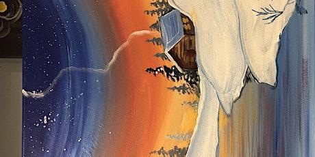 Cabin sunset Banff Paint night tickets