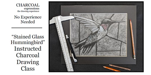 """Charcoal Drawing Event  """"Stained Glass Hummingbird"""" in Polonia"""