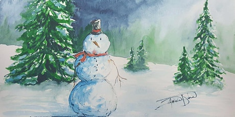 Learn how to paint a snowman with evergreens in watercolor - Mathieu Hebert tickets