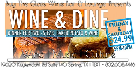 Wine & Dine | Steak Dinner for Two $24.99 tickets