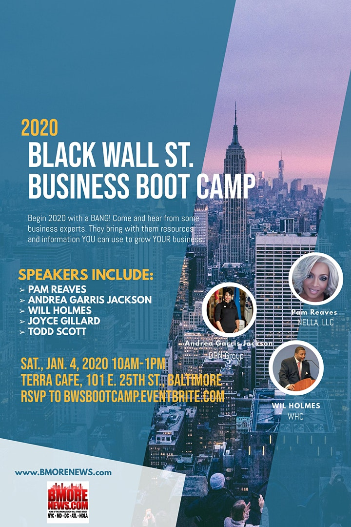 Black Wall Street BUSINESS BOOT CAMP, Jan. 4th (10a-1p) @ Terra Cafe Bmore image