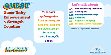 QUEST: LGBTQI2-S Social Support Group Long Beach (ages 16ish-25ish) tickets