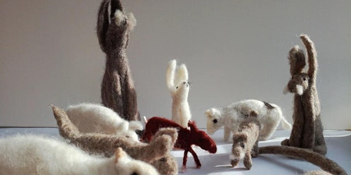 needle felted hares / animals