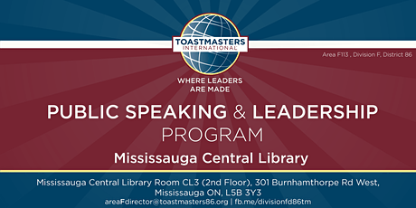 Toastmasters Public Speaking and Leadership Program at Anglican Church, Burnhamthorpe Rd W and Erin Mills pkwy  tickets