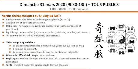 Stage de Qi Gong traditionnel : la circulation des 8 merveilleux vaisseaux billets