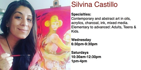 Art Classes, Painting & Drawing with Prof. Silvina Castillo billets