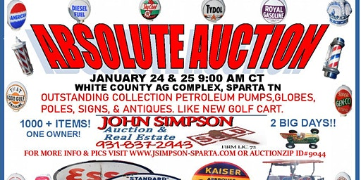 Absolute Auction: Petroleum related: Signs, pumps, antiques and more