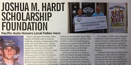 Joshua M. Hardt Memorial Scholarship, Presented by Pacific Auto