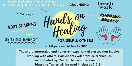 Hands on Healing (Class 3 of 4 in this series) Techniques for Back and Neck tickets