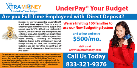 UnderPay™ Your Budget: The Easiest Way to Generate $500 to $2,000+/month. tickets