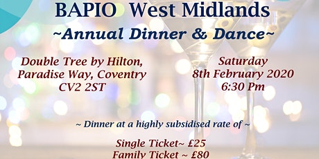 BAPIO West Midlands Annual Dinner tickets