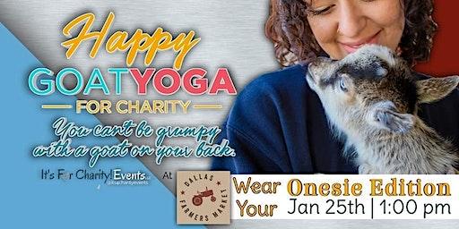 Happy Goat Yoga: Wear Your Onesie Edition at Dallas Farmers Market