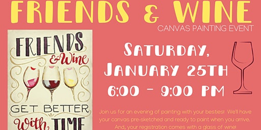 Friends and Wine Canvas Painting Event