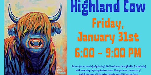 Highland Cow Canvas Painting Event