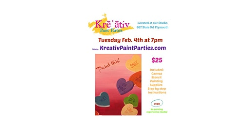 Candy Heart Paint Party- Tues. Feb. 4th at 7pm  Kreativ Studio