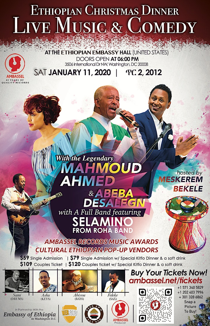 Ethiopian Christmas Dinner, Live Music w/ Mahmoud Ahmed, and Comedy image