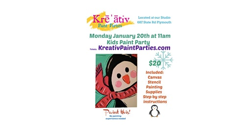 Kids penguin paint party- Monday January 20th at 11am - Kreativ Studio