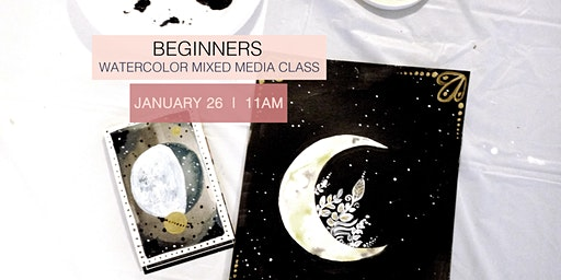 SOLD OUT! Beginners watercolor and mixed media class