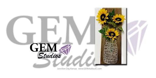 Mason Jar string art w/sunflowers