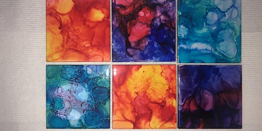 Make your own set of 6 Alcohol Ink Coasters!