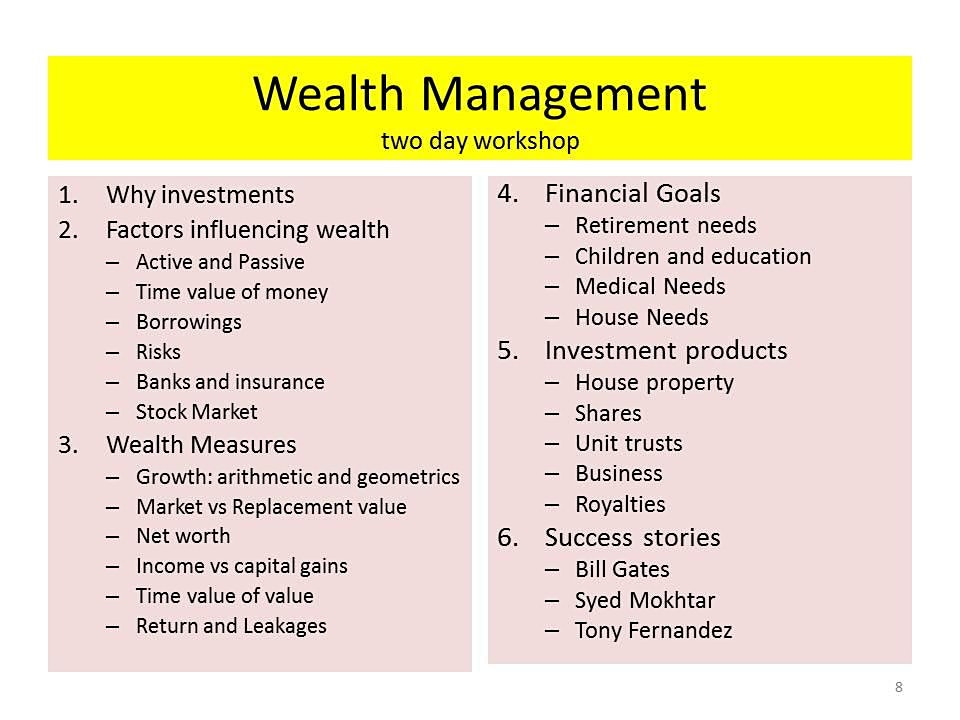 Wealth Management - the critical knowledge for all