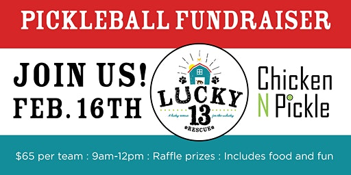 Pickleball Tournament Benefiting Lucky 13 Dog Rescue