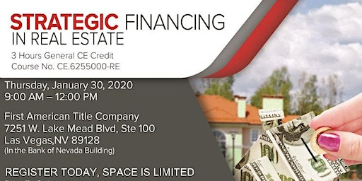 NEW DATE ADDED! Strategic Financing for Real Estate Agents General CE class