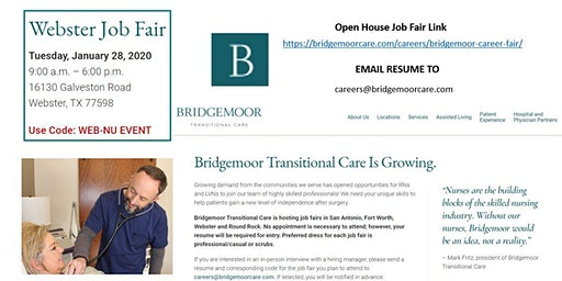 Bridgemoor Transitional Care - Open House Job Fair - HOUSTON, TX