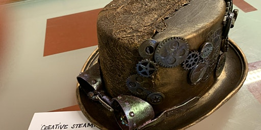 Steampunk themed wearable Top Hat, with mixed media & Powertex!