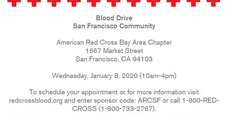 Red Cross-San Francisco Community Blood Drive-Wednesday, January 8, 2020 tickets