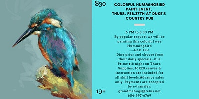 Abstract Hummingbird Paint Night Event at Dukes