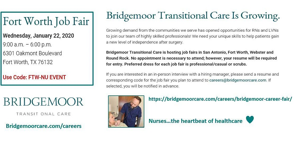 Bridgemoor Transitional Care Open House Job Fair Fort