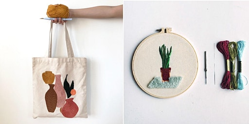 Thread Painting Punch Needle Workshop (On Tote Bag)