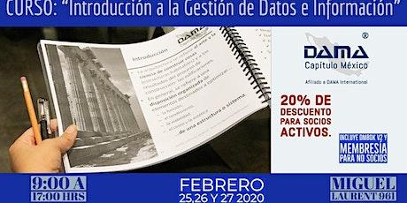 """Curso """"Introducción a la Gestión de Datos e Información"""" entradas"""