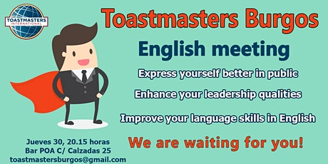 Sesión en inglés - English meeting- Toastmasters Burgos-  Public speaking entradas