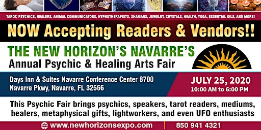 The New Horizon's Navarre's Annual Psychic, Metaphysical, and Healing Arts Fair  July 25, 2020