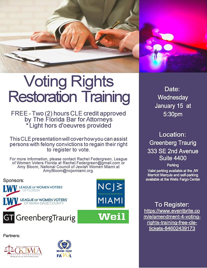 Amendment 4 Voting Rights Training (FREE CLE) image