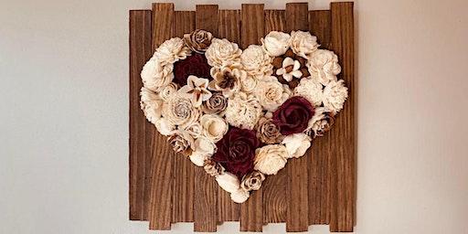 Wood Flower Heart Board