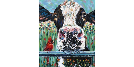 Cow and Cardinal Painting