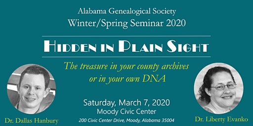 Alabama Genealogical Society Winter/Spring Seminar 2020 (nonmember registration)