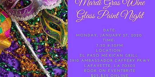 Mardi Gras Wine Glass Paint