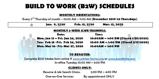 Build 2 Work Softskills, Lifeskills and Work Readiness Training January 2020