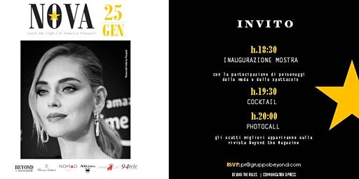 "INVITO VERNISSAGE, COCKTAIL & PHOTOCALL: ""NOVA"" di Federica Pierpaoli"