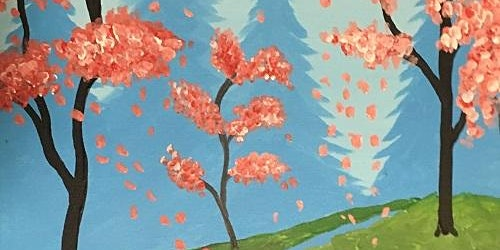 """Paint and Pour in Long Beach! Acrylic painting, """"Pink Spring"""""""