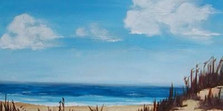 Adult Painting Lesson - Painting & Brews - 'Blue Sky at the Beach' tickets