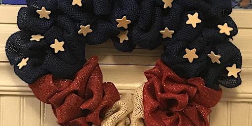 Patriotic Heart Burlap Wreath Class 6:30 pm @Ridgewood Winery