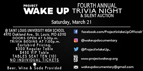 Project Wake Up's Fourth Annual Trivia Night tickets