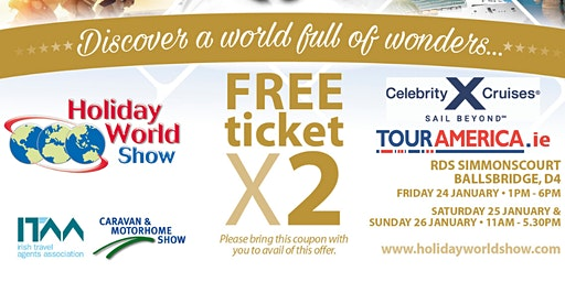 Entry to Holiday World Show Dublin 2020 for Tour America Customers